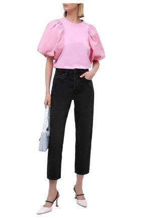 Женская хлопковая футболка MSGM светло-розового цвета, арт. 3041MDM75 217298 | Фото 2
