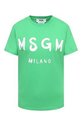 Женская хлопковая футболка MSGM зеленого цвета, арт. 3041MDM60 217298   Фото 1
