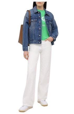 Женская хлопковая футболка MSGM зеленого цвета, арт. 3041MDM60 217298   Фото 2