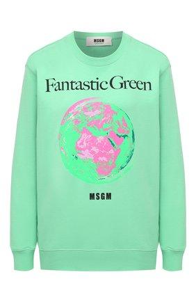 Женский хлопковый свитшот MSGM зеленого цвета, арт. 3041MDM193 217119   Фото 1