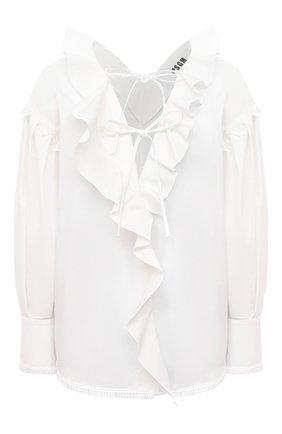 Женская хлопковая блузка MSGM белого цвета, арт. 3041MDM17 217104   Фото 1