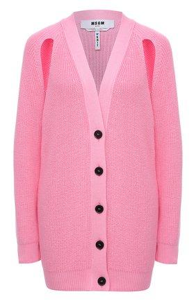 Женский хлопковый кардиган MSGM светло-розового цвета, арт. 3041MDM121 217291 | Фото 1