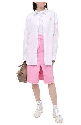 Женская джинсовая юбка MSGM светло-розового цвета, арт. 3041MDD42T 217279 | Фото 2