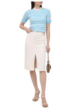 Женская джинсовая юбка MSGM белого цвета, арт. 3041MDD42T 217279 | Фото 2