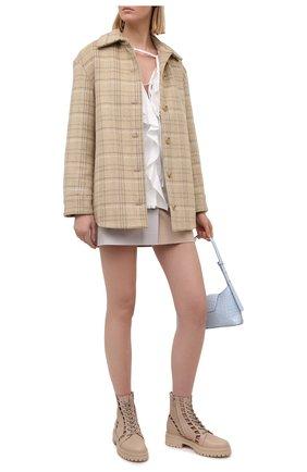 Женская хлопковая юбка MSGM бежевого цвета, арт. 3041MDD11Y 217105   Фото 2
