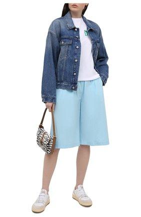 Женские хлопковые шорты MSGM голубого цвета, арт. 3041MDB01 217104   Фото 2
