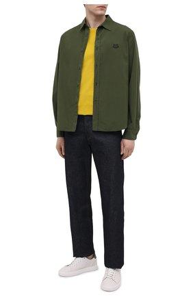 Мужская хлопковая рубашка KENZO хаки цвета, арт. FB55CH4001LA | Фото 2 (Стили: Кэжуэл; Воротник: Кент; Длина (для топов): Стандартные; Манжеты: На пуговицах; Рукава: Длинные; Материал внешний: Хлопок; Случай: Повседневный; Рубашки М: Classic Fit; Принт: Однотонные)