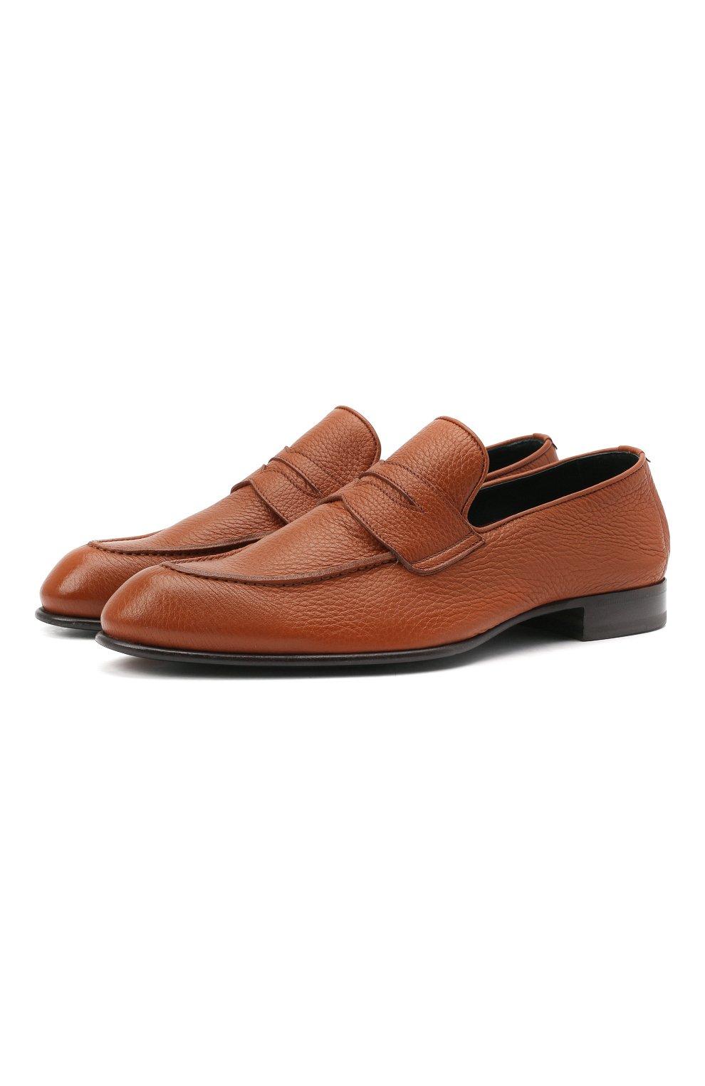 Мужские кожаные пенни-лоферы BRIONI коричневого цвета, арт. QEI30L/P7731 | Фото 1