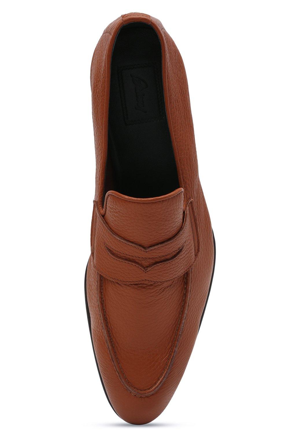 Мужские кожаные пенни-лоферы BRIONI коричневого цвета, арт. QEI30L/P7731 | Фото 5
