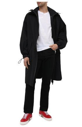 Мужские кожаные кеды BURBERRY красного цвета, арт. 8037194 | Фото 2