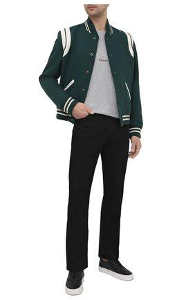 Мужской шерстяной бомбер SAINT LAURENT зеленого цвета, арт. 354718/Y213Q   Фото 2 (Кросс-КТ: Куртка; Материал подклада: Вискоза; Длина (верхняя одежда): Короткие; Принт: Без принта; Стили: Гранж; Материал внешний: Шерсть; Рукава: Длинные)