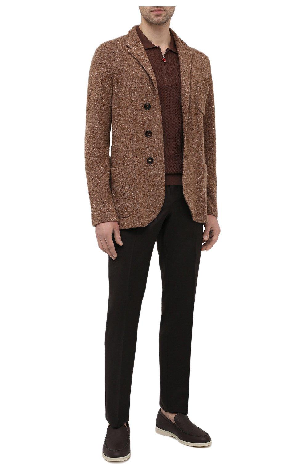 Мужские шерстяные брюки ERMENEGILDO ZEGNA коричневого цвета, арт. 940F06/75TB12   Фото 2