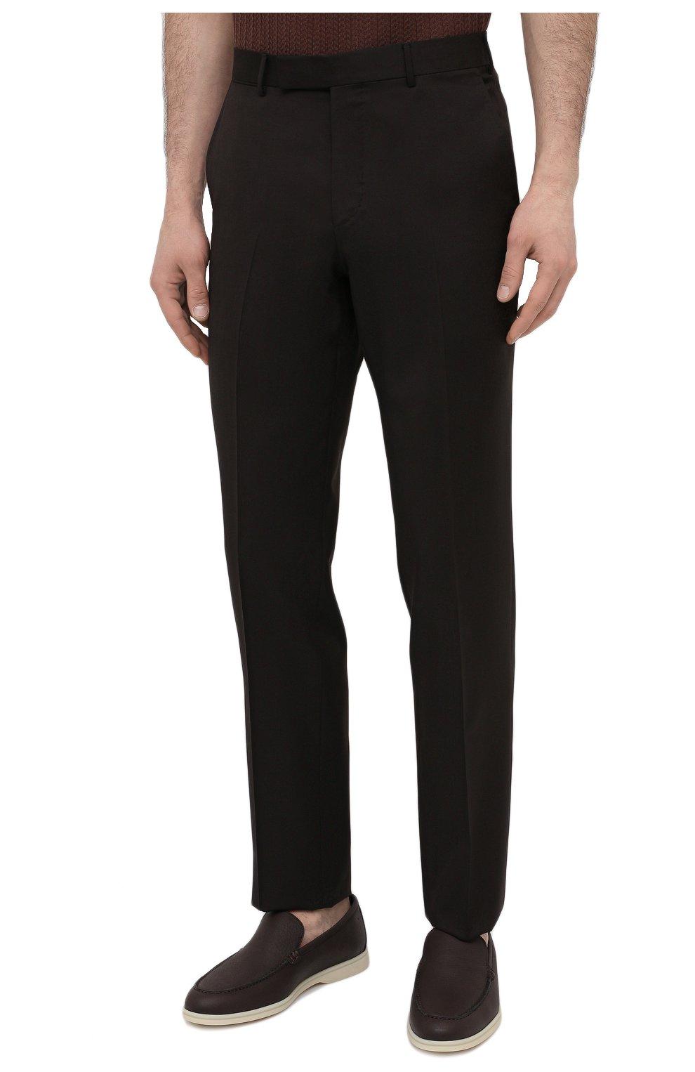 Мужские шерстяные брюки ERMENEGILDO ZEGNA коричневого цвета, арт. 940F06/75TB12   Фото 3