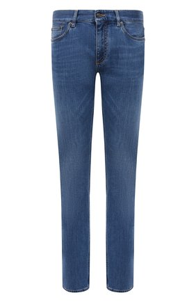 Мужские джинсы ERMENEGILDO ZEGNA синего цвета, арт. UWI75/JS01 | Фото 1 (Материал внешний: Хлопок; Силуэт М (брюки): Прямые; Длина (брюки, джинсы): Стандартные; Стили: Кэжуэл; Детали: Потертости; Кросс-КТ: Деним)