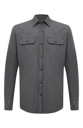 Мужская джинсовая рубашка ERMENEGILDO ZEGNA светло-серого цвета, арт. UWX27/STT3 | Фото 1