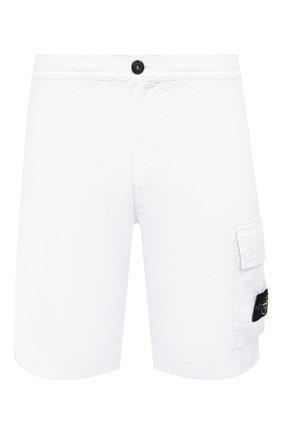 Мужские льняные шорты STONE ISLAND белого цвета, арт. 7415L1201 | Фото 1
