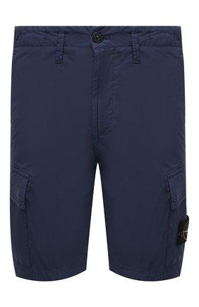 Мужские хлопковые шорты STONE ISLAND темно-синего цвета, арт. 7415L0803 | Фото 1