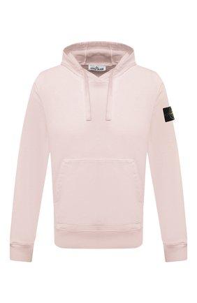 Мужской хлопковое худи STONE ISLAND светло-розового цвета, арт. 741564151 | Фото 1
