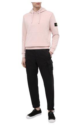 Мужской хлопковое худи STONE ISLAND светло-розового цвета, арт. 741564151 | Фото 2