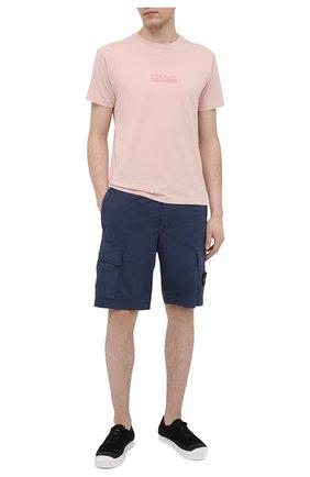 Мужская хлопковая футболка STONE ISLAND светло-розового цвета, арт. 74152NS55 | Фото 2
