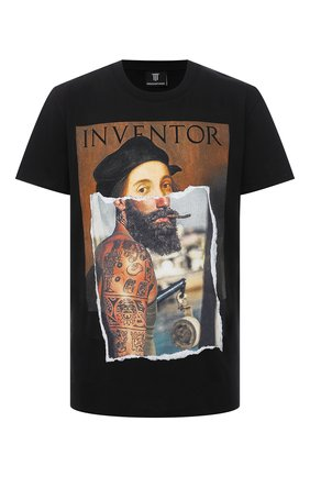 Мужская хлопковая футболка DIEGO VENTURINO черного цвета, арт. SS21-DV TS0 RHI | Фото 1