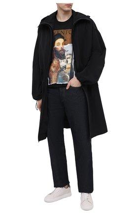 Мужская хлопковая футболка DIEGO VENTURINO черного цвета, арт. SS21-DV TS0 RHI | Фото 2
