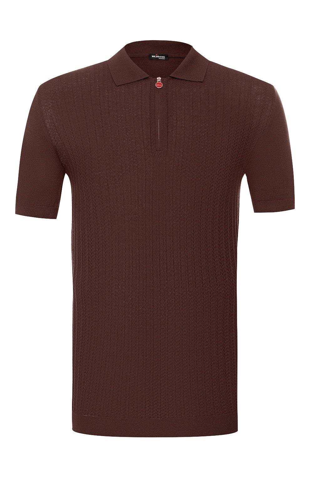 Мужское хлопковое поло KITON коричневого цвета, арт. UK1152 | Фото 1
