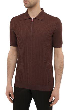 Мужское хлопковое поло KITON коричневого цвета, арт. UK1152 | Фото 3