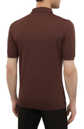 Мужское хлопковое поло KITON коричневого цвета, арт. UK1152 | Фото 4