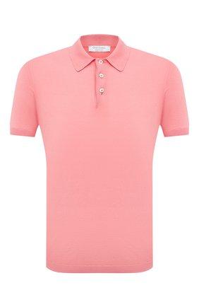 Мужское хлопковое поло GRAN SASSO розового цвета, арт. 43156/20731 | Фото 1 (Рукава: Короткие; Длина (для топов): Стандартные; Кросс-КТ: Трикотаж; Стили: Кэжуэл; Застежка: Пуговицы; Материал внешний: Хлопок)