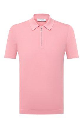 Мужское хлопковое поло GRAN SASSO розового цвета, арт. 58137/18120 | Фото 1 (Рукава: Короткие; Стили: Кэжуэл; Кросс-КТ: Трикотаж; Застежка: Молния; Материал внешний: Хлопок; Длина (для топов): Стандартные)