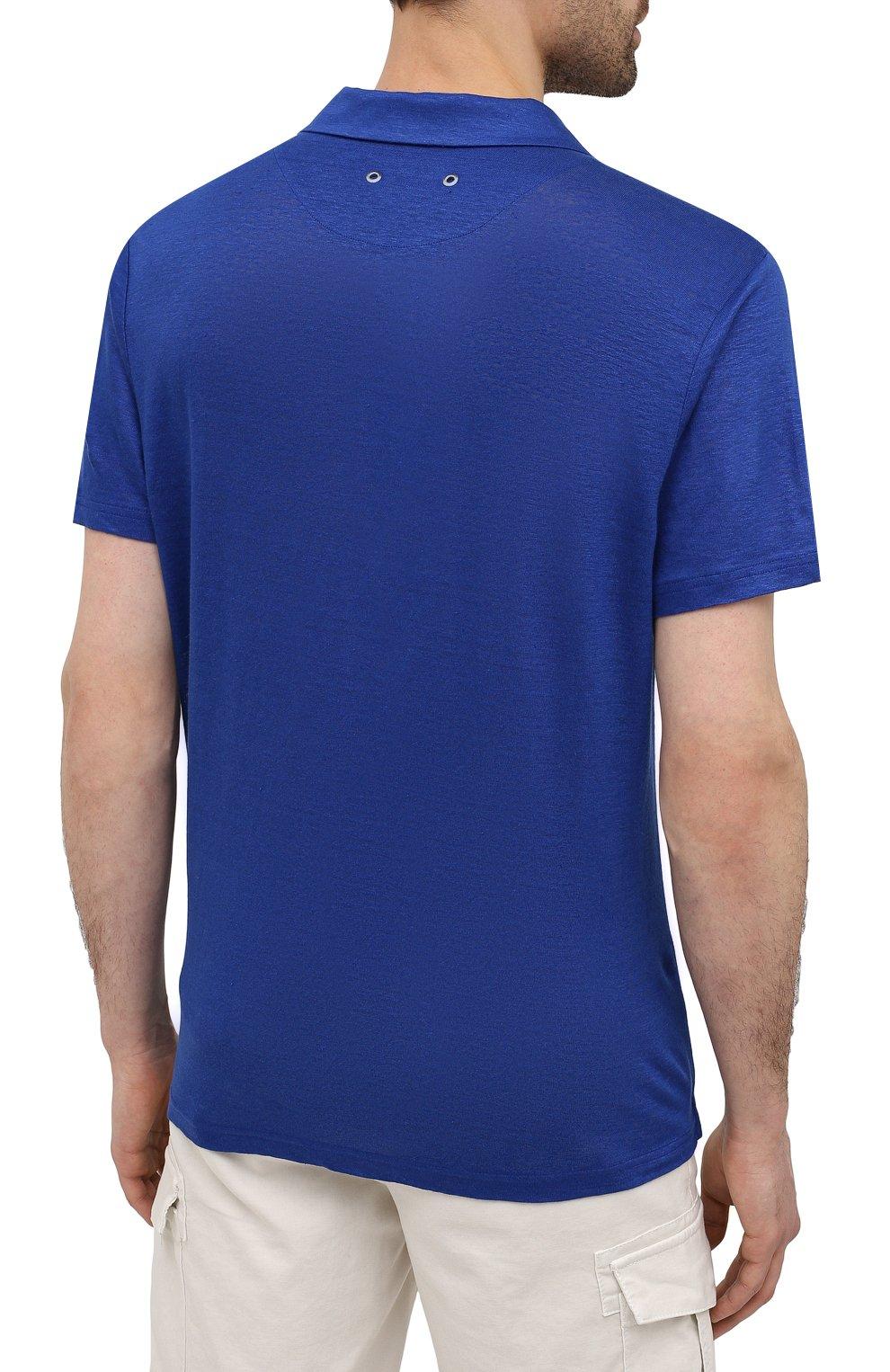 Мужское льняное поло VILEBREQUIN темно-синего цвета, арт. PYRE9O00/355 | Фото 4 (Рукава: Короткие; Застежка: Открытый ворот; Длина (для топов): Стандартные; Кросс-КТ: Трикотаж; Материал внешний: Лен; Стили: Кэжуэл)