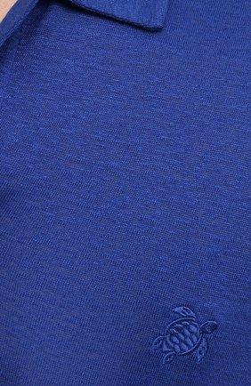 Мужское льняное поло VILEBREQUIN темно-синего цвета, арт. PYRE9O00/355 | Фото 5 (Рукава: Короткие; Застежка: Открытый ворот; Длина (для топов): Стандартные; Кросс-КТ: Трикотаж; Материал внешний: Лен; Стили: Кэжуэл)