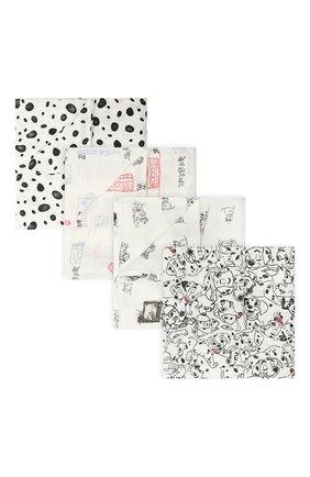 Детского комплект из четырех пеленок ADEN+ANAIS черно-белого цвета, арт. DISN103G   Фото 1