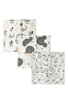 Детского комплект из трех пеленок ADEN+ANAIS черно-белого цвета, арт. DISN350G   Фото 1