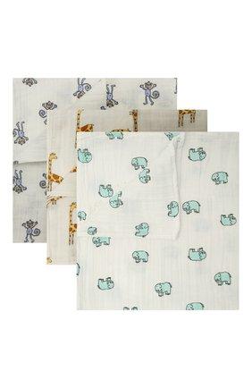 Детского комплект из трех пеленок ADEN+ANAIS белого цвета, арт. 7202G   Фото 1