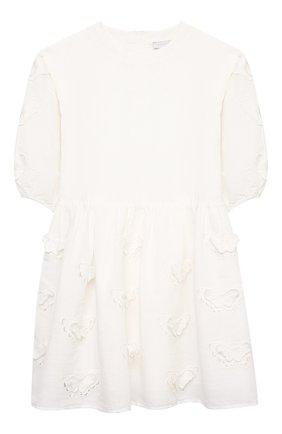 Детское платье из льна и хлопка STELLA MCCARTNEY белого цвета, арт. 602770/SQK92 | Фото 1