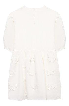 Детское платье из льна и хлопка STELLA MCCARTNEY белого цвета, арт. 602770/SQK92 | Фото 2