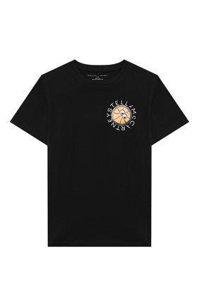 Детская хлопковая футболка STELLA MCCARTNEY черного цвета, арт. 602241/SQJ56 | Фото 1