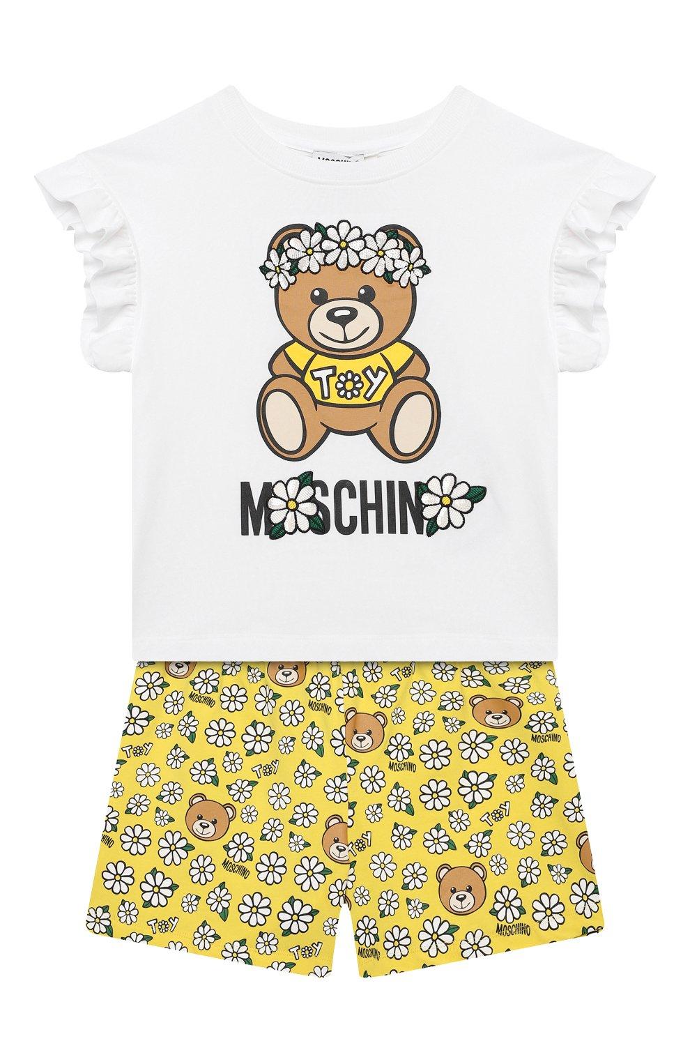 Детский комплект из топа и шорт MOSCHINO желтого цвета, арт. HDG006/LBB57/10A-14A | Фото 1