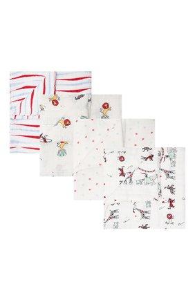 Детского комплект из четырех пеленок ADEN+ANAIS белого цвета, арт. 2052G   Фото 1