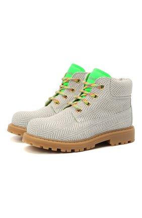 Детские замшевые ботинки RONDINELLA белого цвета, арт. 11200-7/6394/24-27 | Фото 1