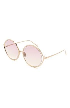 Женские солнцезащитные очки LINDA FARROW золотого цвета, арт. LFL680C10 SUN   Фото 1