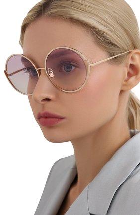 Женские солнцезащитные очки LINDA FARROW золотого цвета, арт. LFL680C10 SUN   Фото 2