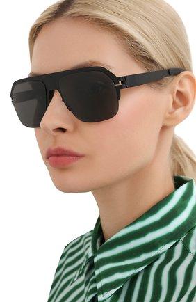 Женские солнцезащитные очки MYKITA черного цвета, арт. SUPER/MATTEBLACK | Фото 2 (Оптика Гендер: оптика-унисекс; Тип очков: С/з; Очки форма: Прямоугольные)