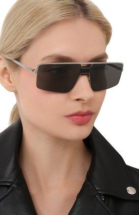 Женские солнцезащитные очки MYKITA серебряного цвета, арт. S0Y/PITCHBLACK/MSL | Фото 2 (Оптика Гендер: оптика-унисекс; Тип очков: С/з; Очки форма: Прямоугольные)
