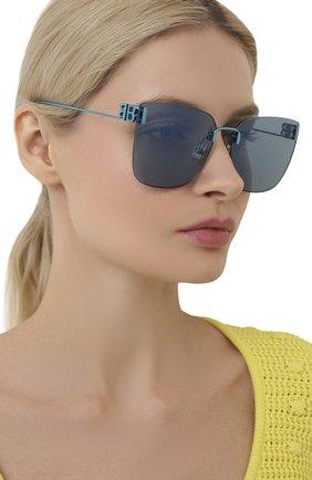 Женские солнцезащитные очки BALENCIAGA бирюзового цвета, арт. BB0112SA 003 | Фото 2