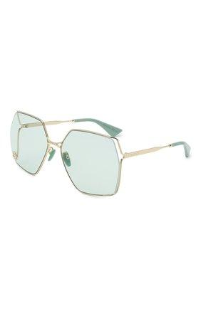 Женские солнцезащитные очки GUCCI светло-зеленого цвета, арт. GG0817S 003 | Фото 1 (Тип очков: С/з; Очки форма: Бабочка, Квадратные; Оптика Гендер: оптика-женское)