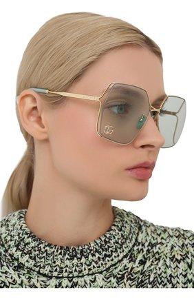 Женские солнцезащитные очки GUCCI светло-зеленого цвета, арт. GG0817S 003 | Фото 2 (Тип очков: С/з; Очки форма: Бабочка, Квадратные; Оптика Гендер: оптика-женское)