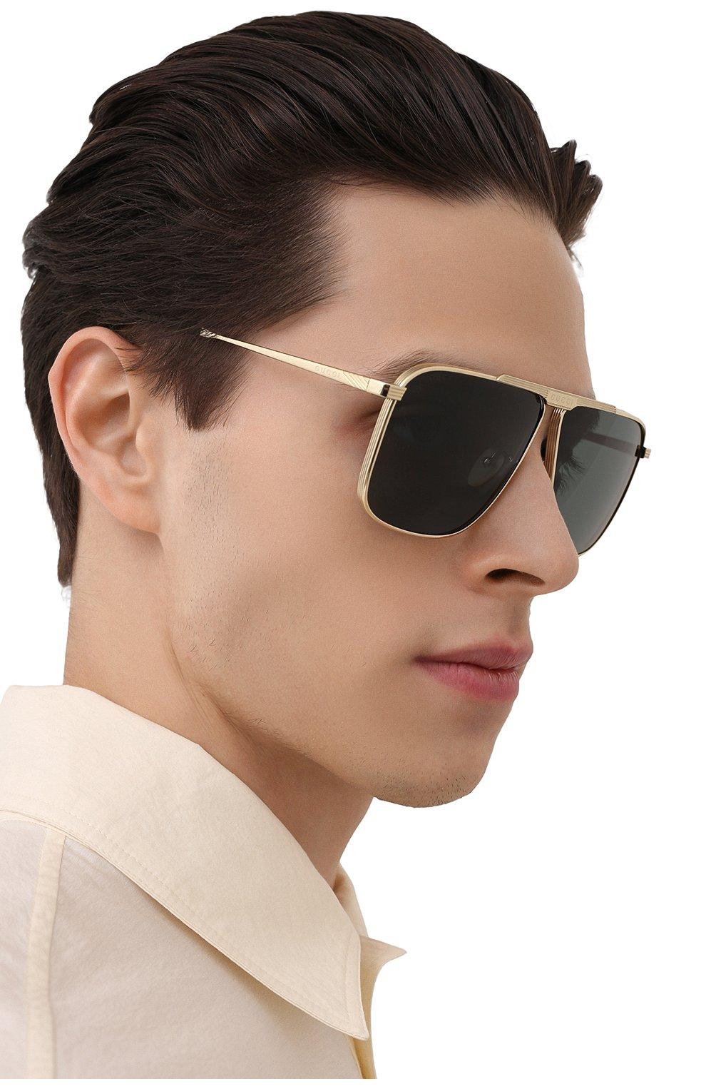 Мужские солнцезащитные очки GUCCI золотого цвета, арт. GG0840S 002 | Фото 2